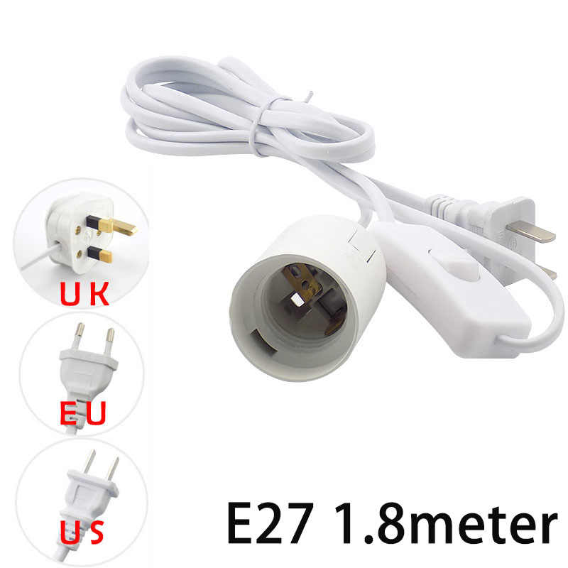 1.8M E27 AC Power Cord Cable Socket plug eclectical Converters Adapter lamp Base Holder switch wire for led Lamp Bulb Light