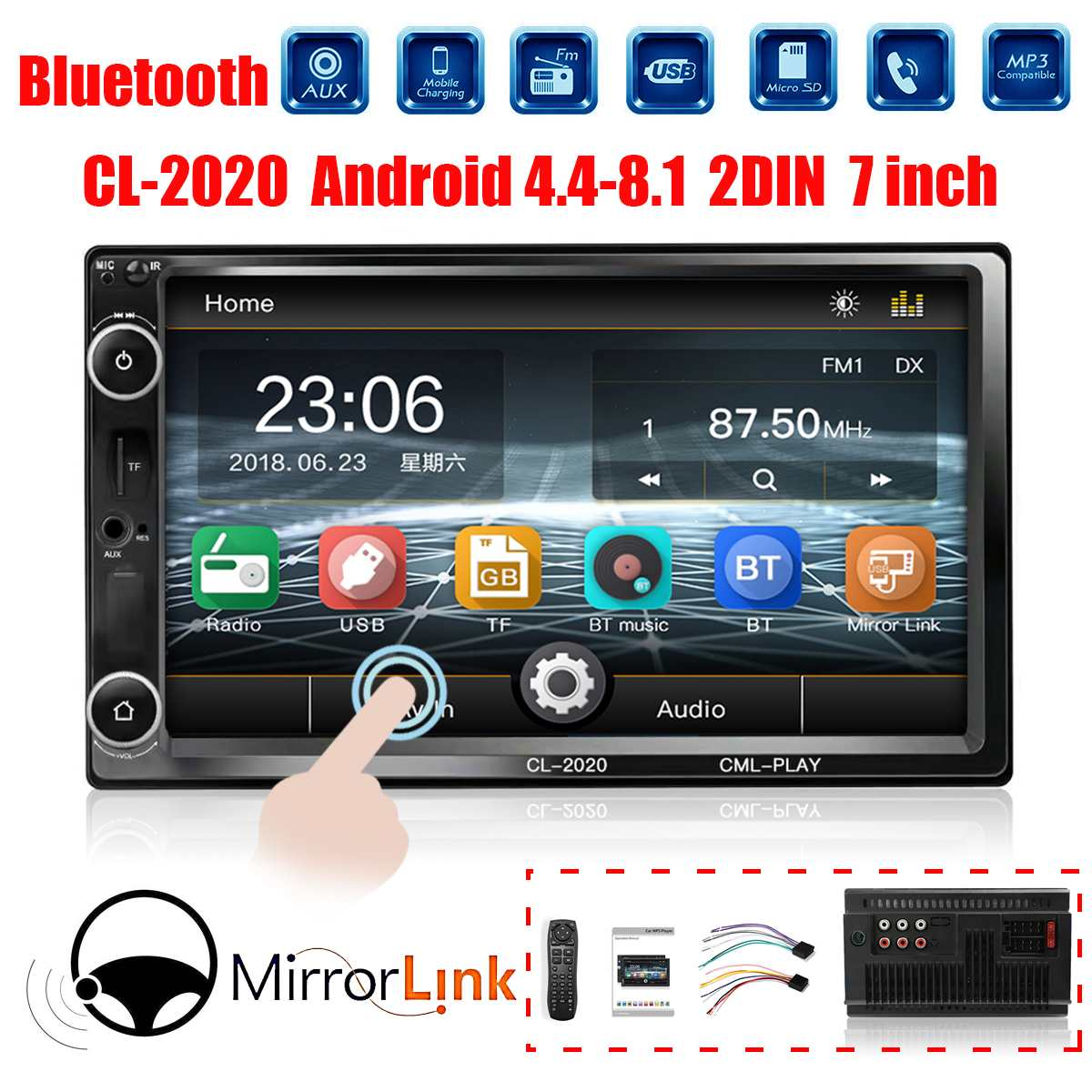 7 Inch Car Multimedia Player 2DIN HD bluetooth Car Stereo MP5 Player Audio Radio Touchable Hands Free Remote Control AUX FM TF