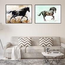 Black Horse Ink Artwork Vintage Poster Prints Oil Painting On Canvas Wall Art Murals Pictures For Living Room Decoration