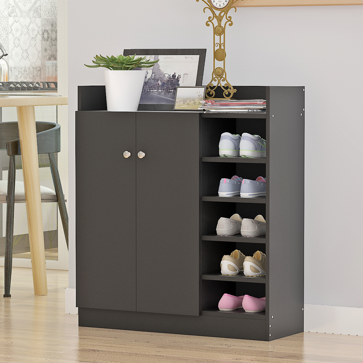 Home Furnitures Shoe Storage Cupboard Cabinet Rack Four Adjustable Shelves Convenience Shoes Storage