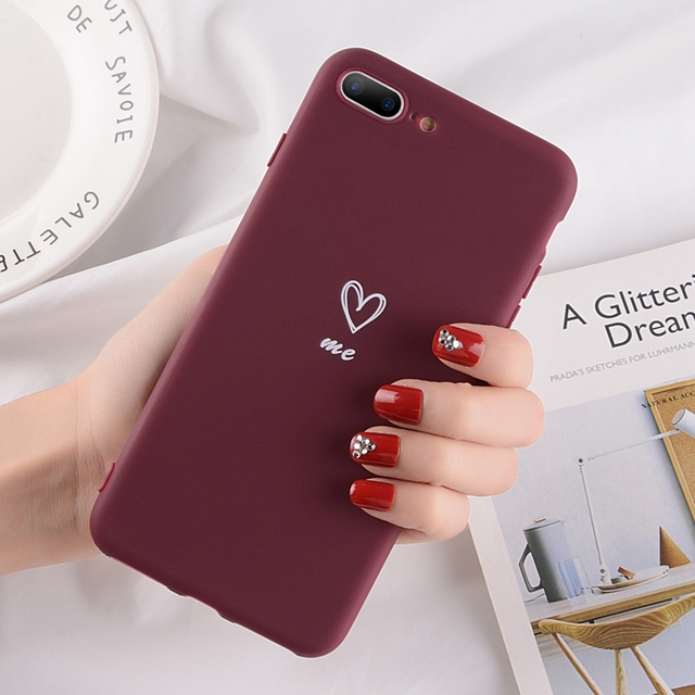 iPhone Soft TPU Silicone Love Heart Pattern Phone Cases Cover