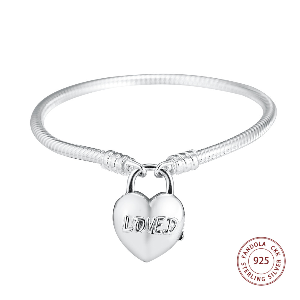 Fandola 925 Sterling Silver You Are Loved Heart Padlock Femme Charm Bracelets Bangles for Women Pulseira