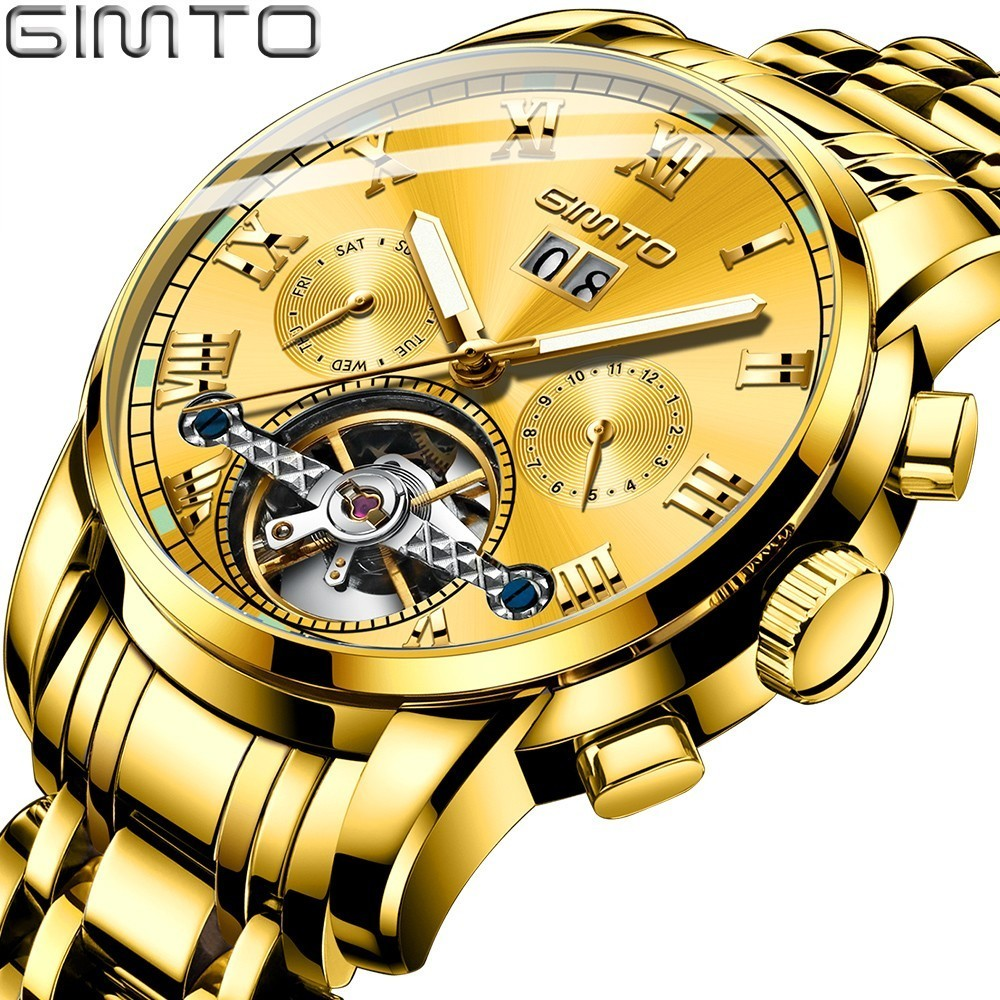 GIMTO Mens Automatic Mechanical Watches Men Stainless Steel Gold Watch Skeleton Day Date Clock Mechanism Tourbillon Wristwatch in Mechanical Watches from Watches