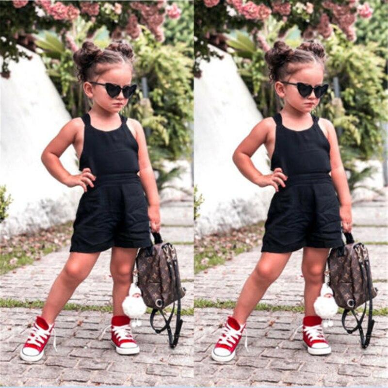 Infant Toddler Baby Girls Kids Black Backless Cross Bowknot Romper Sleeveless Playsuit Jumpsuit Summer New Overalls For Girl