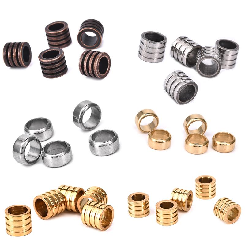 10pcs Stainless Steel Metal Spacer Tube Beads Charms Slider Big Hole 6mm 8mm for Men Jewelry Making DIY Leather Cord Bracelet(China)