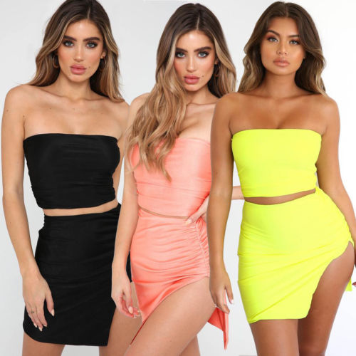 2pcs Women Backless Crop Top Bodycon Skirt Co ord Set Clubwear Summer Mini Dress