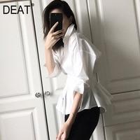 DEAT 2019 New Summer Fashion Women Clothing Casual Loose Splicing White Turn down Collar Skirt Female Vestido ZA33600