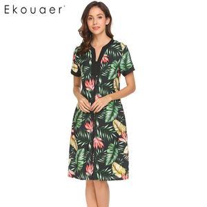 Image 3 - Ekouaer femmes chemises de nuit Chemise de nuit col en v à manches courtes Floral avant fermeture à glissière vêtements de nuit Chemise de nuit femme robe de nuit