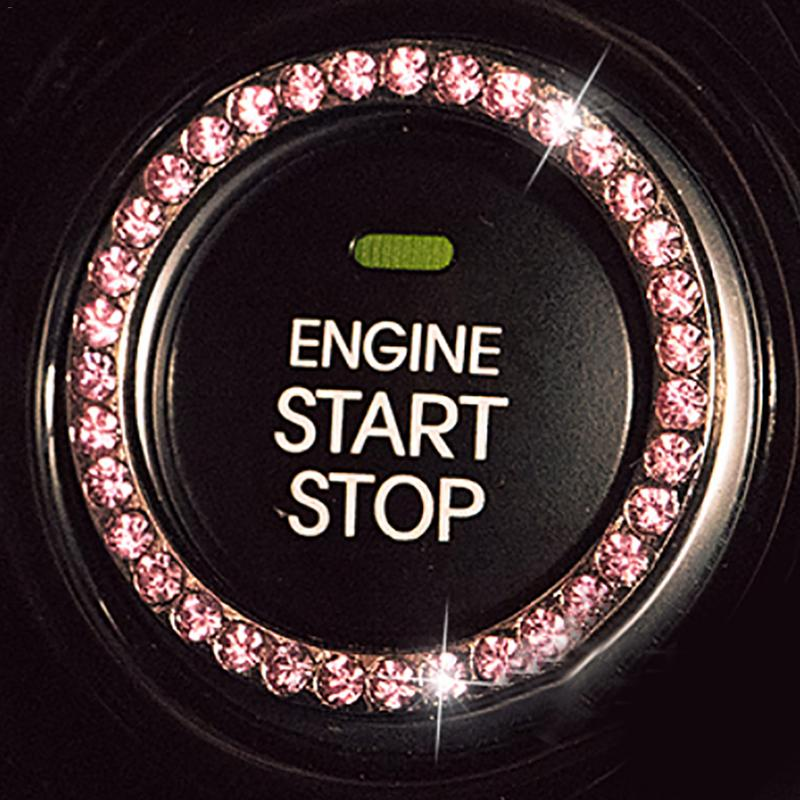 Car Ignition Switch Accessories Engine Start Stop Push Button Knob Key Switch Sparkling Crystals Decorative Ring Trim