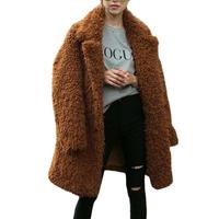 Ladies' Autumn And Winter Fashionable Lapel Fur Coat Mid Length Thickening Coat Thick Warm Fur Fluffy Shaggy Faux Long Fur Coat