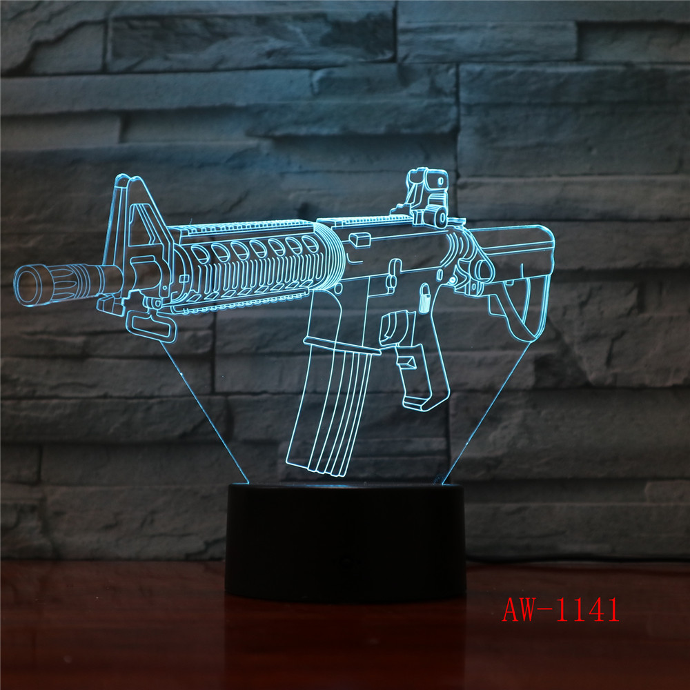 Battle Game 3D Sleep Lamp Changeable Mood Attack AK47 Gun Protection Lamp Luminous Toys With 7 Colors Dropship AW-1141
