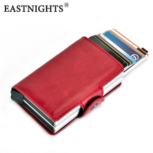 EASTNIGHTS Credit Card Holder RFID Wallet Metal and Pu Leather ID Bank Case for Women Men TWB031