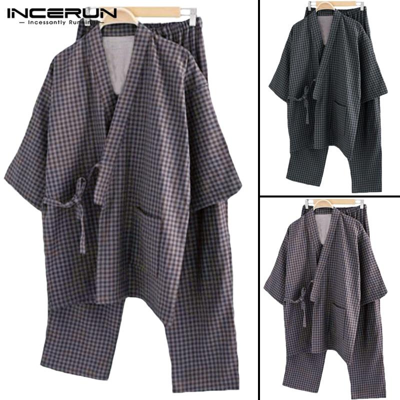 Suit Pajama-Sets Kimono Sleepwear Lounge Male Cotton Robe 5XL Stripe Gown Comfortable