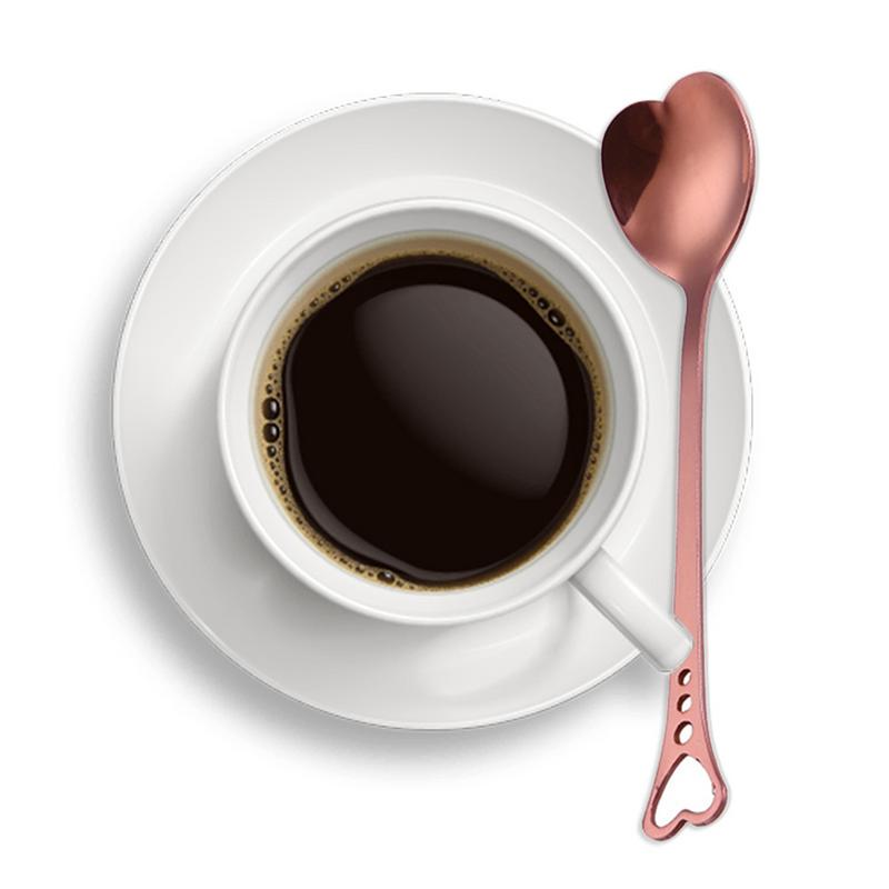 Stainless Steel Heart Shaped Coffee Spoon Non toxic Anti rust Coffee Spoon Thicker Handles For More Durability in Spoons from Home Garden