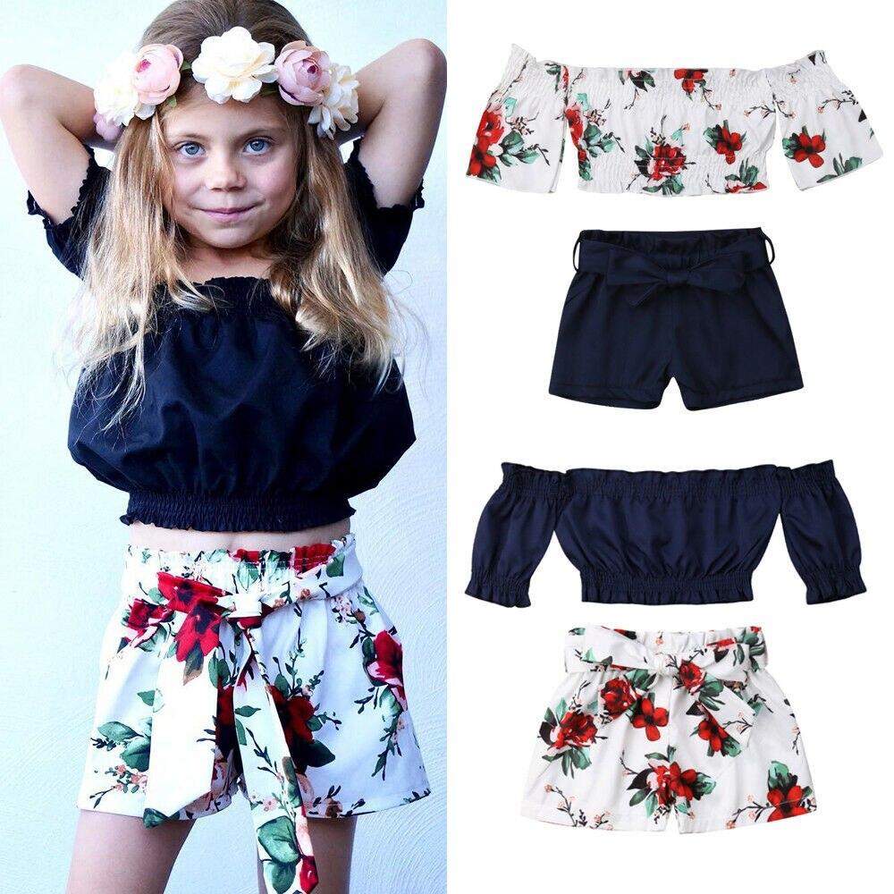 1-6y Sommer Nettes Kind Kinder Baby Mädchen Kleidung Sets Kurzarm Off Schulter T-shirts Floral Print Shorts Attraktive Mode