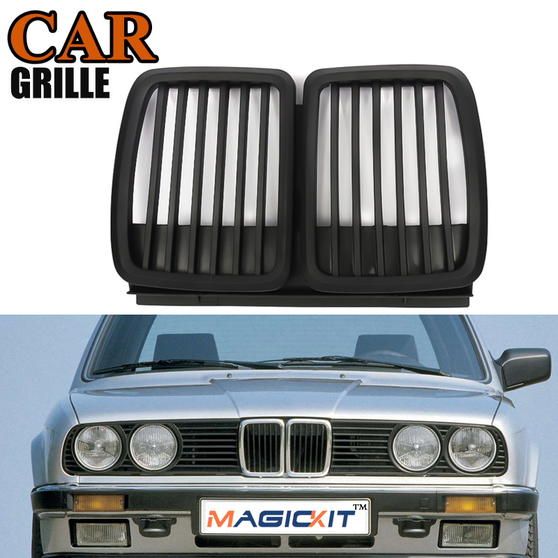 MagicKit Front Matte Black Bumper Kidney Grill Grille for <font><b>BMW</b></font> 3-Series <font><b>E30</b></font> Saloon 1982-91 image