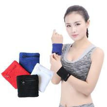 8*8cm New Polyester-cotton Blend Zipper Pockets Style Sports Wipe Sweat Wrist Comfortable Towel For Men And Women