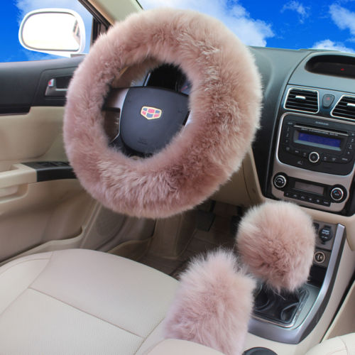 3pcs/set Winter Faux Wool <font><b>Car</b></font> Steering <font><b>Wheel</b></font> <font><b>Cover</b></font> <font><b>for</b></font> <font><b>women</b></font> <font><b>Car</b></font> seat <font><b>Cover</b></font> Fuzzy <font><b>Car</b></font> Interior Accessories <font><b>Car</b></font> styling image