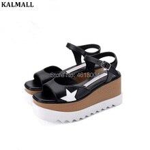 08e58ff69 Elyse KALMALL Verão Estrelas Casuais Sandálias Sandálias de Cunha Mulheres  Sapatos de Plataforma Saltos Grossos de