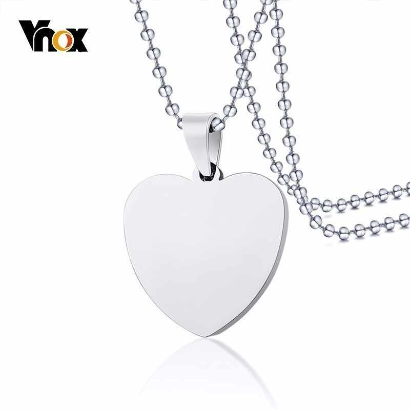 Vnox Classic Plain Heart Pendant For Women Men Necklace Silver Stainless Steel Dag Tag