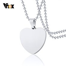 Vnox Classic Plain Heart Pendant For Women Men Necklace Silver Stainless Steel Dag Tag(China)