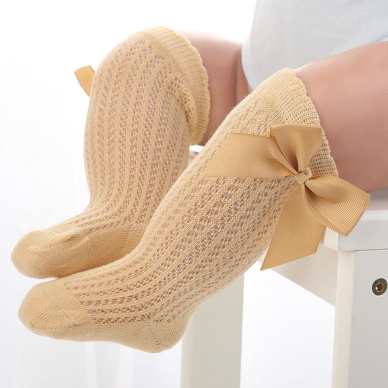BalleenShiny Baby Girl Socks Toddler Baby Bow Cotton Mesh Breathable Socks Newborn Infant Non-slip Baby Girls Socks 0-3 years 6
