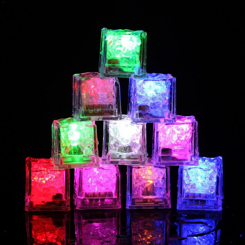 LED Light Ice Cube Luminous Glowing Cubes Lights Neon Party Decorations 12 Pcs