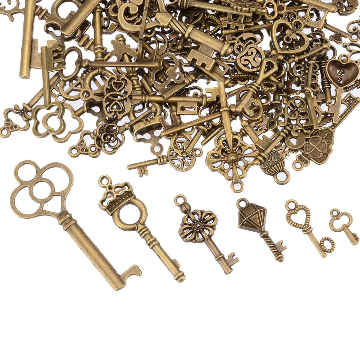 New 125pcs/set Antique Vintage Old Look Bronze Skeleton Keys Present Fancy Heart Bow Party Supplies DIY Jewerly Pendant Decor
