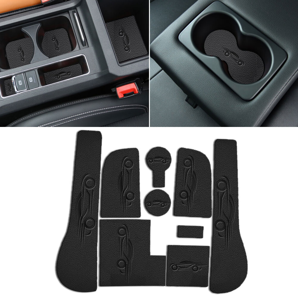 For Volkswagen VW Golf 7 Mk7 2014-2016 PU Leather Car Anti Slip Mat Non-Slip Interior Door Mats Cup Pad Door Groove Mat 9 pcs