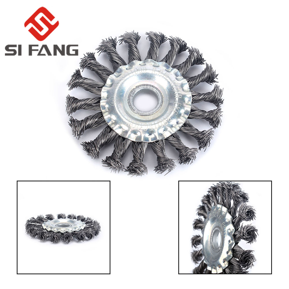 1pc 105mm Round Wire Twisted Brush Flat Twisted Wire Brush Wire Twisted Wheel Crimped Wire Brushes  Hole 16mm For Angle Grinder