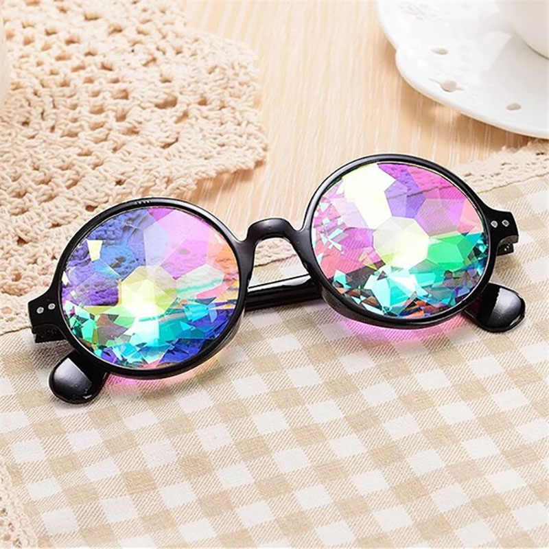3b43d8ca5e Hot Round Kaleidoscope Glasses Women Retro rave festival Colorful Party  holographic Sunglasses Catwalk Show Holograp Glasses
