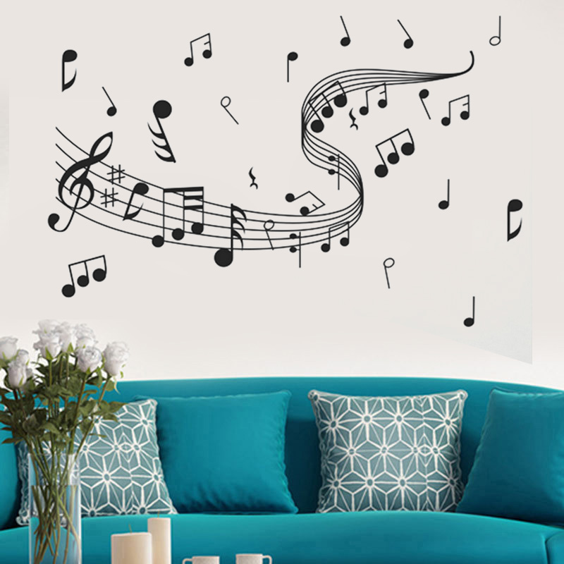 105cm Fashion Removable Music Notes Band Room Home Wall Stickers Decals Vinyl DIY Decor Art image