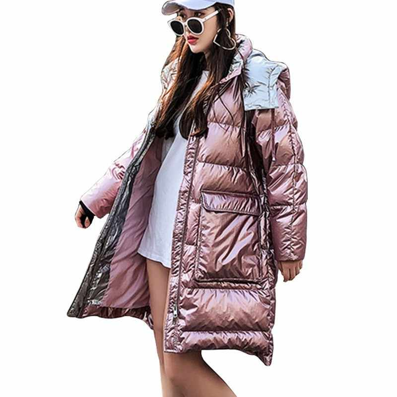 c9df0f6cb Flash Light Pink Down Cotton Jacket Women Winter Long Coat Hooded Parkas  2019 Bright Thicken Padded Female Warm Outerwear PL20