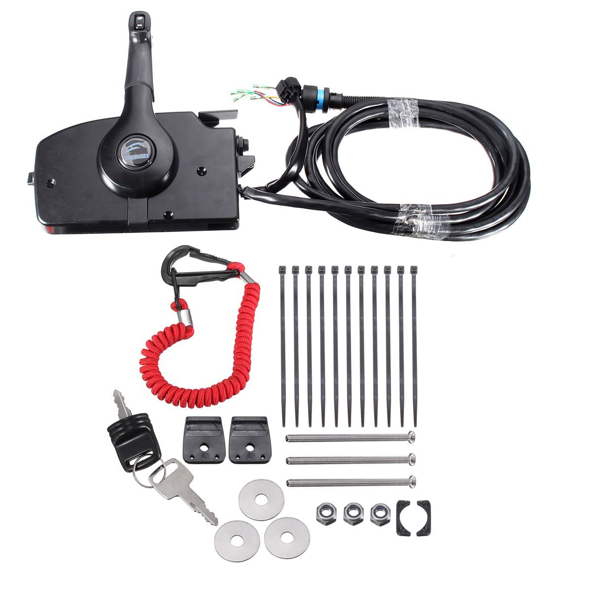 for Mercury Outboard Engine Side Mount With 14 Pin Cable Boat Remote Control Box Up/Down switch Include Forward/reverse Lever