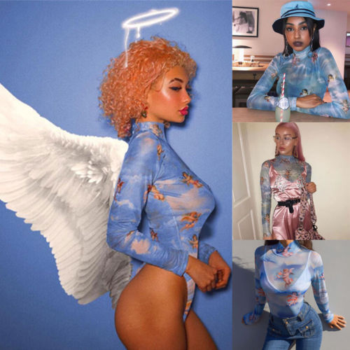 New Womens Long Sleeve Sexy Bodysuit Stretch Ladies Cupid Printing Body Tops   Jumpsuit