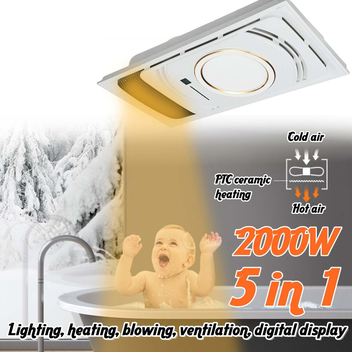 2 In 1 Bathroom Heater Light 5 In 1 Bathroom Ceiling Electric Heater 2kw 220v Exhaust