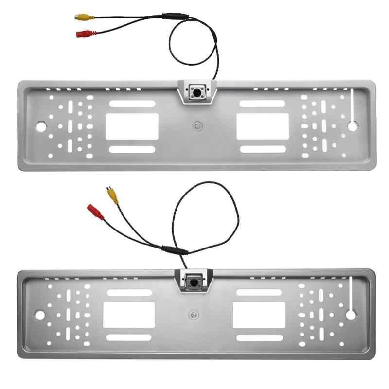 Marco de matrícula de coche europeo a prueba de agua cámara de respaldo LED soporte de matrícula de automóviles soporte de estacionamiento retrovisor
