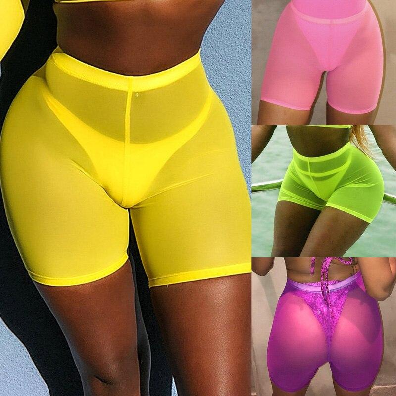 Women Summer Ladies Transparent Casual Mesh Beach Hot   Shorts   High Waist Women Beach Mesh Cover Up Solid Swimwear