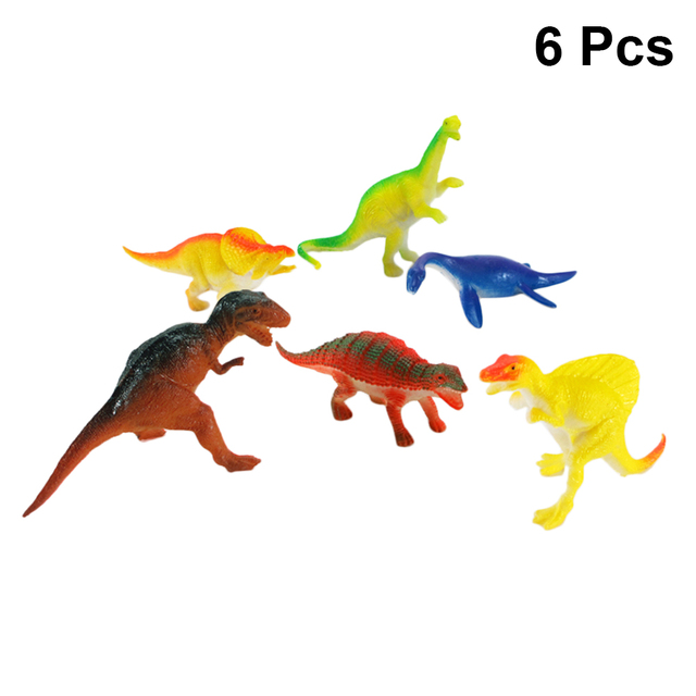 6 PC Sólido Modelo de Dinossauro 5.5 Polegadas PVC Simulação Dinossauro de Brinquedo Modelo Ornamentos Estáticos para Crianças Meninos Crianças