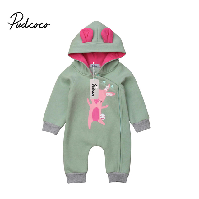 5bf7c4a95c090 US $8.5 15% OFF Newborn Baby Boys Girls Cartoon Naughty Rabbit 3D Ears  Hooded Jumpsuit Romper Playsuit Autumn Winter Clothes 0 2Y 3M 6M-in Rompers  ...
