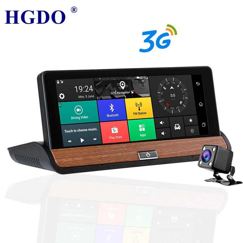 "HGDO Dash Camera DVR 7"" Android Vehicle GPS Navigation 1080P 3G Wi-Fi FM Transmitter G-Sensor Quad Core 1GB RAM 16GB RO"