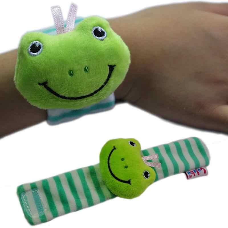 1 stücke Baby Rasseln Spielzeug Uhr Stil Niedlichen Tier Frosch Löwe Kuh Elefanten Form Weiche Plüsch Handgelenk Bands Entwicklungs Spielzeug für Infant