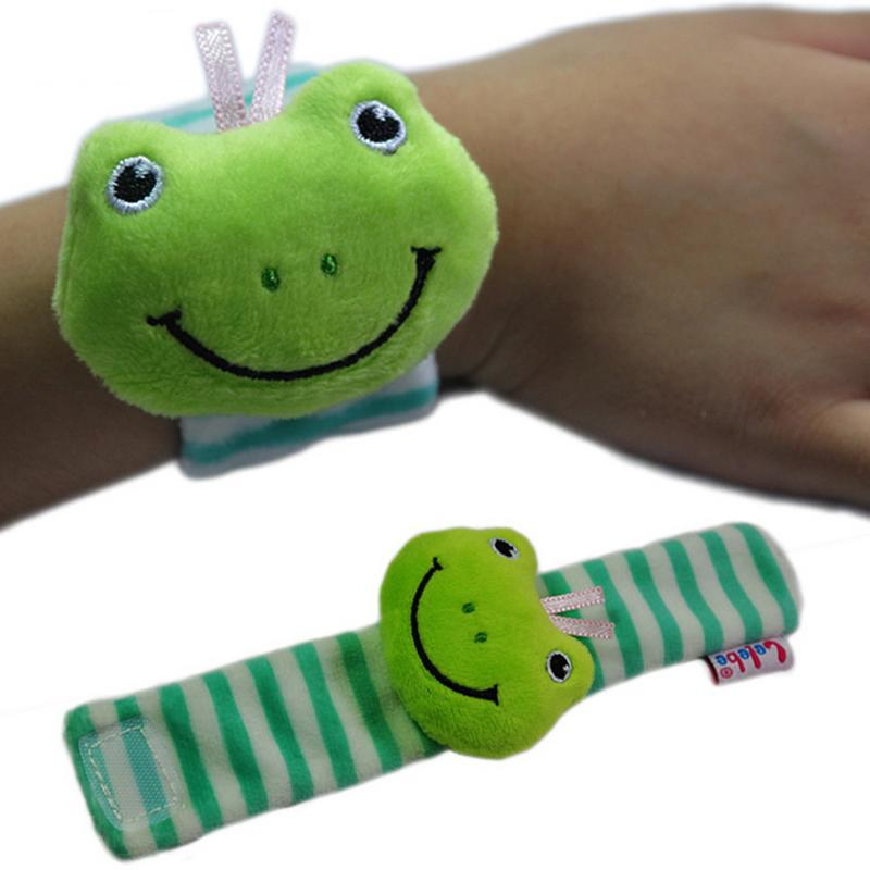 1pcs Baby Rattling Toys Watch Style Cute Animal Frog Lion Cow Elephant Shape Soft Plush Wrist Bands Developmental Toy For Infant