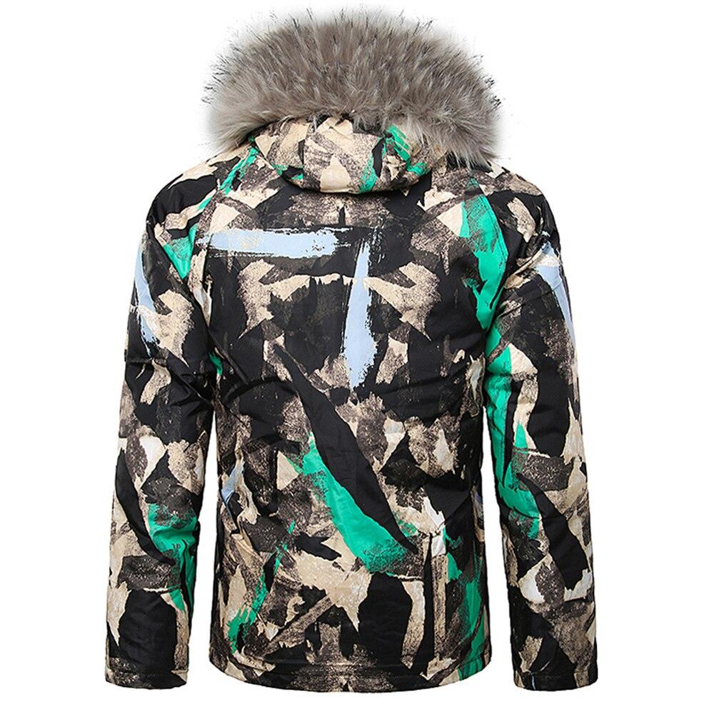 Veste de Ski Camouflage hommes peinture éclaboussures fourrure à capuche cordon Design veste rembourrée veste de Snowboard hommes combinaison de Ski veste à capuche - 4