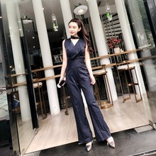3e71ae04125 2019 New V-neck Stripe Professional Jumpsuits Women Fashion High Waist  Jumpsuit Female Office Wide