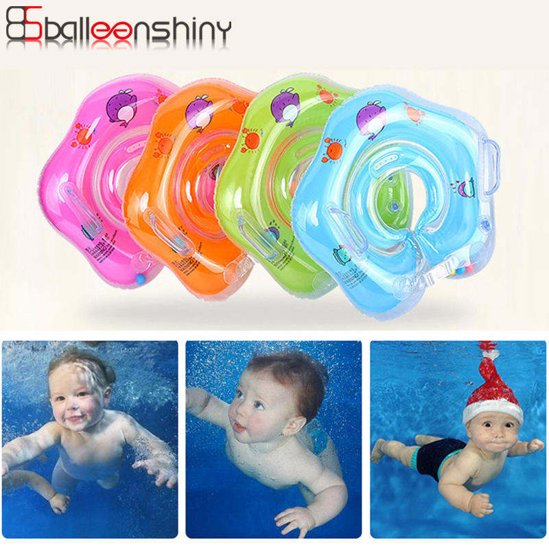BalleenShiny Swimming Baby Accessories Neck Ring Tube Safety Infant Float Circle For Bathing Inflatable Water Drink Cup