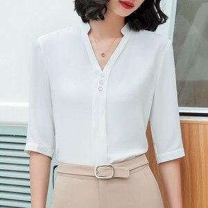 Image 3 - אופנה חולצה נשים חצי שרוול מקרית עבודה אלגנטי V צוואר עסקי ראיון רשמי שיפון החולצה משרד ליידי בתוספת גודל חולצות