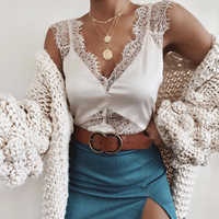 Mujeres Sexy Lace Tank Top camisola sin mangas Casual camisola Plain Strappy chaleco blusa señoras ropa trajes verano moda 2019