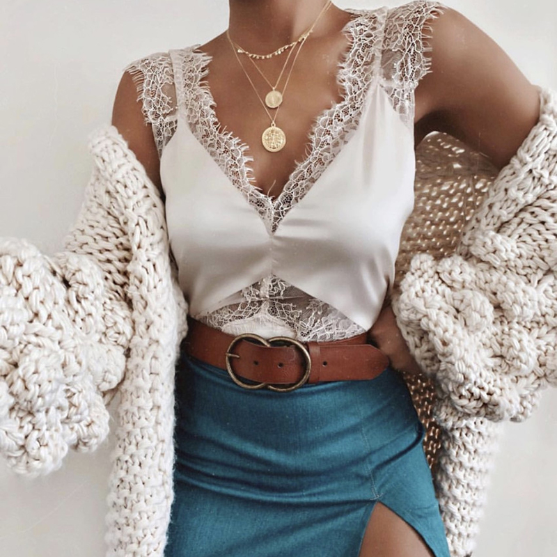Women Sexy Lace   Tank     Top   Camis Sleeveless Casual Camisole Plain Strappy Vest Blouse Ladies Clothes Outfits Summer Fashion 2019