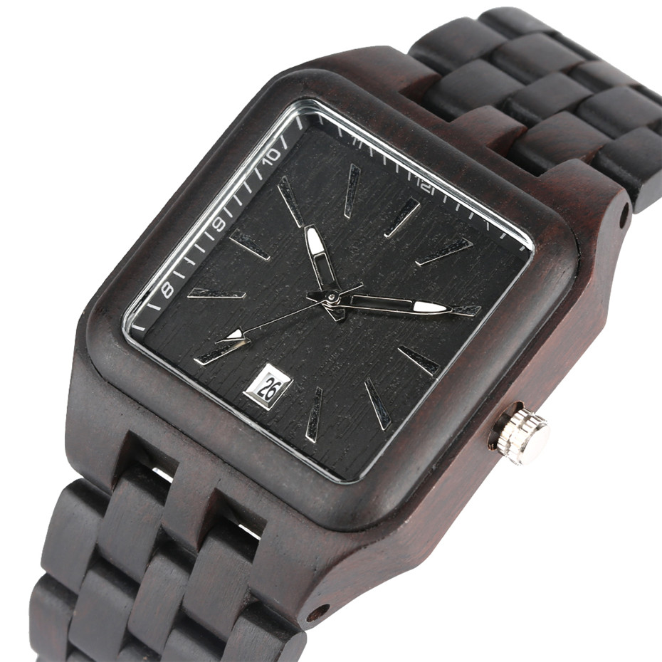 Luxury Black Wood Watch Men Casual Square Shape Dial Creative Watches Auto Date Wooden title=